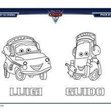 Coloriage Disney : Coloriage CARS 2 LUIGI et GUIDO