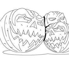 Coloriage d'Halloween : Coloriage d'un trio de citrouilles