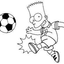 Coloriage de Bart au football