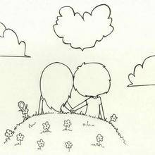 Coloriage de deux amoureux
