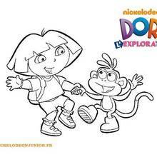 Coloriage de Dora et Babouche qui dansent