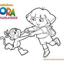 Coloriage de Dora et Babouche qui font la ronde