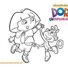 Coloriage de Dora et Babouche qui se tapent dans la main