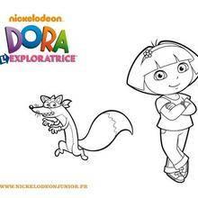 Coloriage de Dora et Chipeur le renard