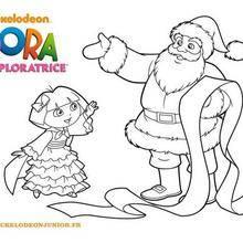 Coloriage : Dora et le Père-Noel