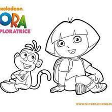 Coloriage de Dora et son fidèle ami