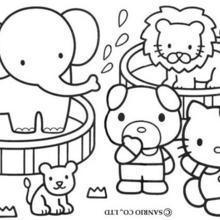 Coloriage de Hello Kitty et ses amis