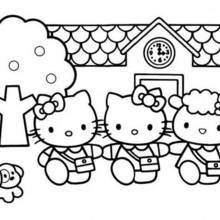 Coloriage de la maison de Hello Kitty