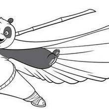 Coloriage Kung Fu Panda : Po maîtrise le bâton