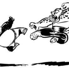 Coloriage de Po se battant avec master tiger