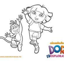 Coloriage : Dora et Babouche sautent de joie
