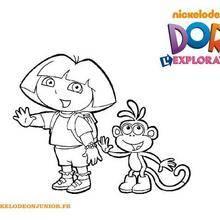 Coloriage du bonjour de Dora et Babouche