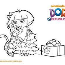 Coloriage du cadeau de Dora pour Babouche