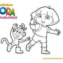 Coloriage du pas de danse de Dora et Babouche