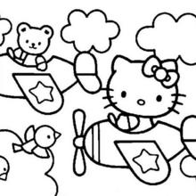 Coloriage : Hello Kitty en avion
