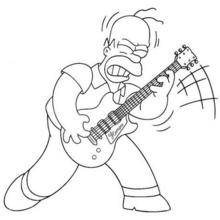 Coloriage : HOMER joue de la guitare