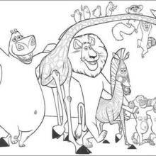 Coloriage Madagascar de tous les animaux