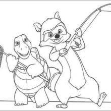 Coloriage NOS VOISINS LES HOMMES de Riton et Verne à la chasse