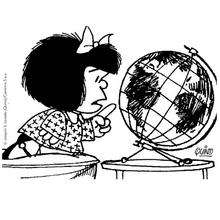 Coloriage de Mafalda observant le Monde