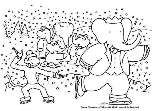 Coloriage BABAR - Babar a la neige
