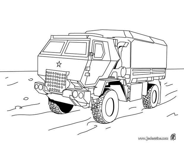 Coloriages coloriage d 39 un camion de transport militaire - Dessin de militaire ...