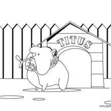 Coloriage de chien : Titus devant sa niche