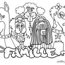 Coloriage de chien : Une famille de chiens