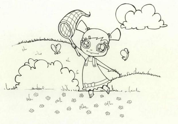 Coloriages la chasse aux papillons - Dessin de chasse ...