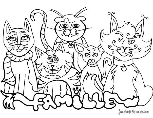 Coloriages famille de chats - Dessin a colorier un chat ...