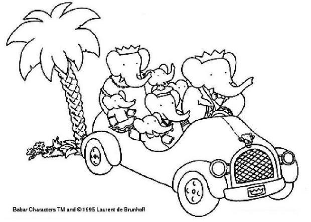 Coloriages la famille de babar en voiture - Coloriage de la famille ...