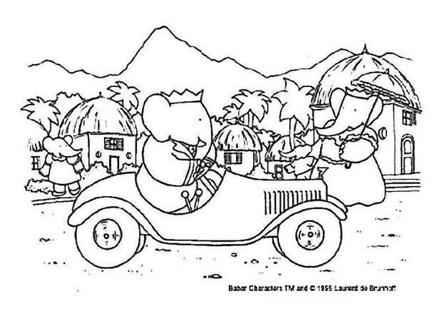 Coloriages la voiture de babar - Dessin vieille voiture ...
