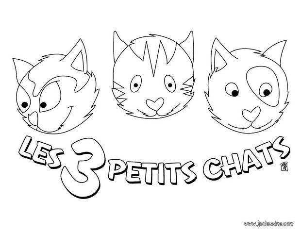 Coloriages les trois petit chat - Coloriage en ligne chat ...