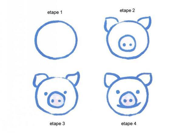 Comment dessiner une t te de cochon - Cochon a dessiner ...
