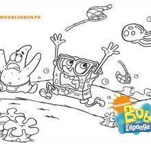 Coloriage Bob l'éponge : Coloriage de Bob et Patrick poursuivis par une méduse