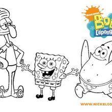 Coloriage Bob l'éponge : Coloriage de Bob, Patrick et Carlo tentacules