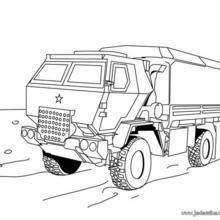 Coloriage d'un camion de transport militaire
