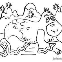 Coloriage d'un hippopotame