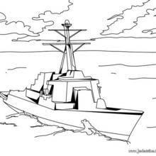 Coloriage d'une corvette, bateau de guerre