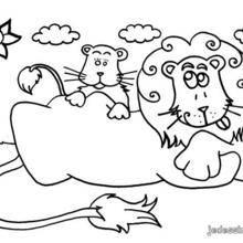 Coloriage d'une lionne et son bébé