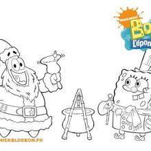 Coloriage Bob l'éponge : Patrick et Bob fêtent Noël