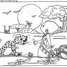 Coloriage de l'enfant et le léopard