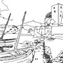 Coloriage d'un port