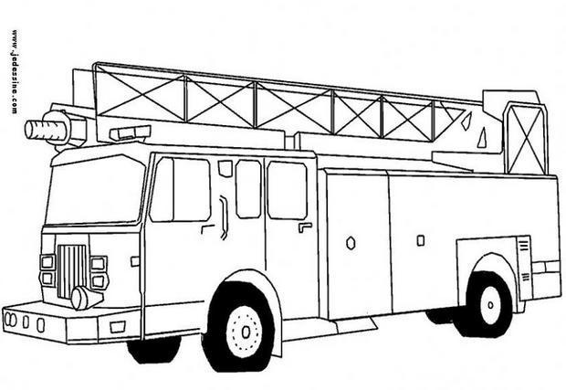 Coloriages coloriage d 39 un camion de pompiers - Camion americain dessin ...