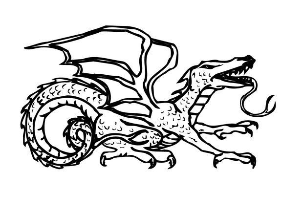 Coloriages coloriage d 39 un dragon langue de l zard - Coloriage de dragon ...