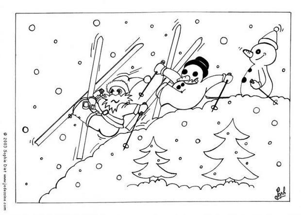 Coloriages Coloriage De Bonhommes De Neige Au Ski