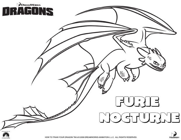 Coloriages furie nocturne - Coloriages de dragons ...