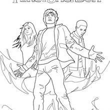 Coloriage Percy Jackson : Percy, Grover Underwood et Anna Beth Chase