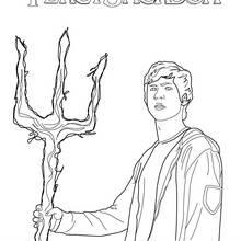 Coloriage Percy Jackson : Percy et son trident