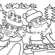 Coloriage d'un lutin avec le Père-Noël