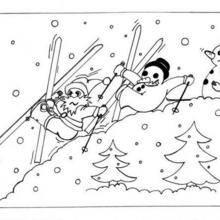 Coloriage de bonhommes de neige au ski